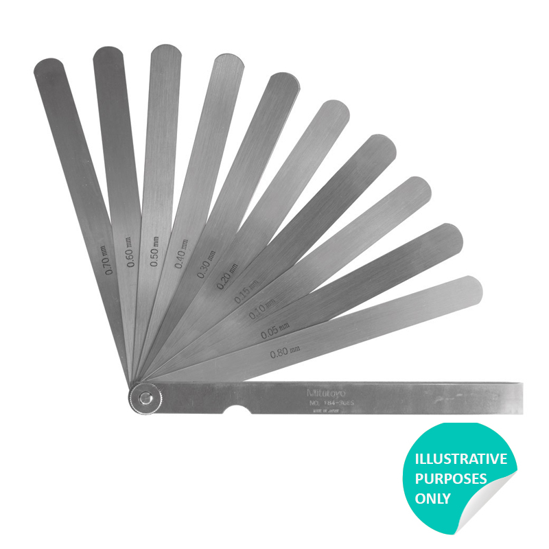 150mm Length Mitutoyo 184-302S  Thickness Feeler Gage Set 0.03-0.5mm Thickness 13 Leaves Straight Leaves